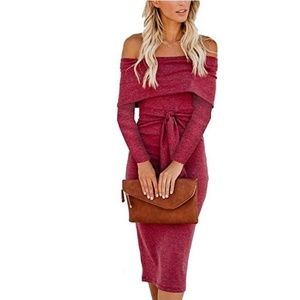Coventavenue - Long Sleeve off Shoulder Midi Dress